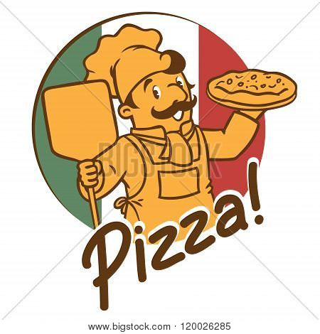 Emblem of funny cook or chef o baker with pizza