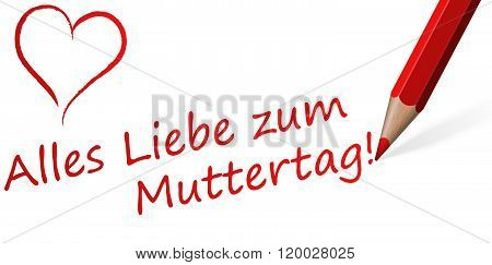 Red Pen With Text For Mother's Day (in german)