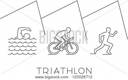 Line illustration triathlon. Vector figures triathletes on a white background. Linear figure triathlon athletes. Swimming cycling and running.