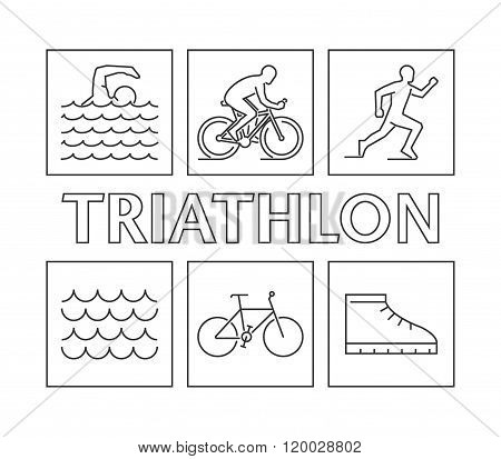 Modern line logo triathlon. Vector figures triathletes on a white background. Linear figure triathlon athletes. Swimming cycling and running icons.