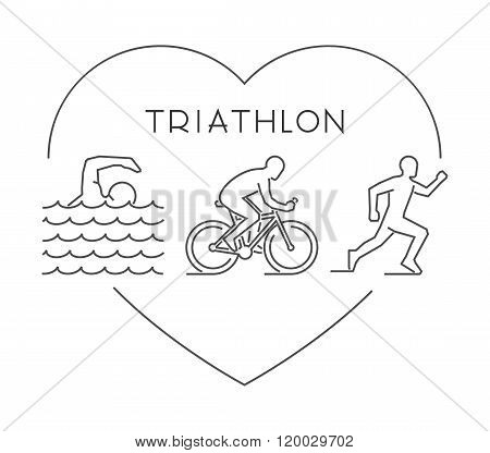Love triathlon symbol. Vector figures triathletes. Outline heart and triathlon icons. Line heart triathlon and triathletes. Swimming cycling and running icons. Vector love triathlon.