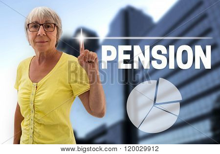 Pension Touchscreen Is Shown By Senior Woman