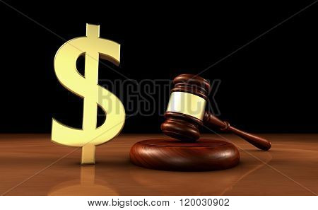 Law And Dollars Symbol Cost Of Justice Concept