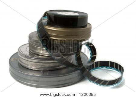 Movie Film Cans And Trailer