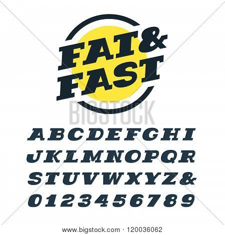 Wide Italic Slab Serif Font. Vector Alphabet With Latin Letters And Numbers.