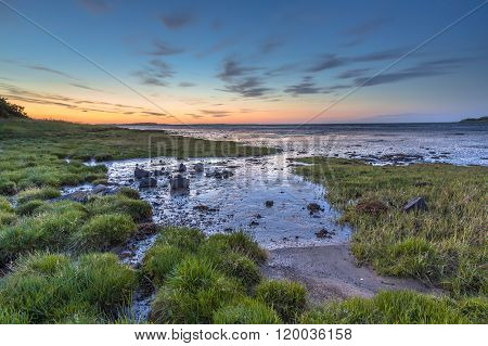 Tidal Marsh Sea Inlet Sunset