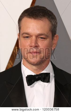 LOS ANGELES - FEB 28:  Matt Damon at the 88th Annual Academy Awards - Arrivals at the Dolby Theater on February 28, 2016 in Los Angeles, CA