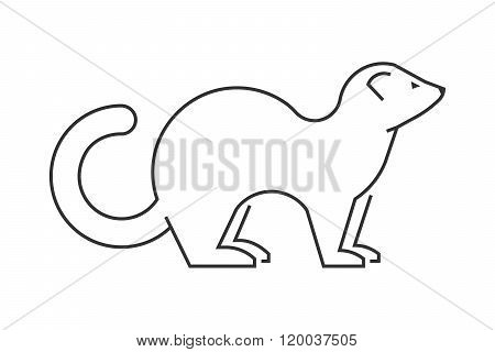 Vector Linear Figure Of Ferret On A White Background.
