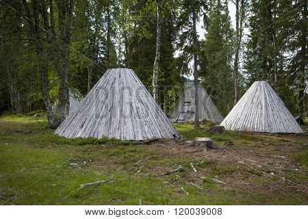 Picture of Sami buildings in Sapmi Swedish Lapland
