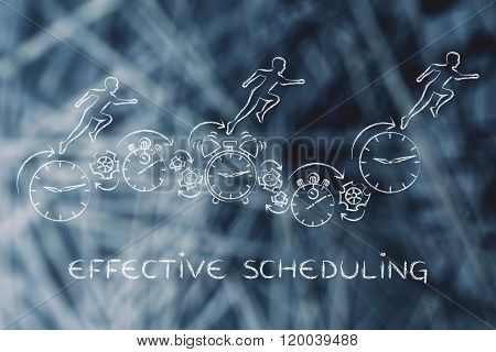 People Running On Clocks, Stopwatches And Alarms, Effective Scheduling