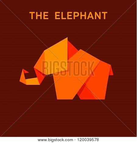 Elephant Flat Style Logo Design Illustration Animals Origami Polygons