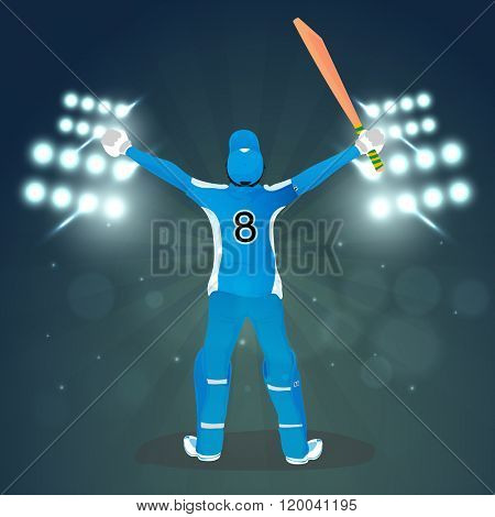 Illustration of a Batsman in uniform on stadium lights, rays background for Cricket Sports concept.