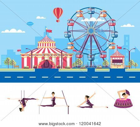 Circus with gymnasts