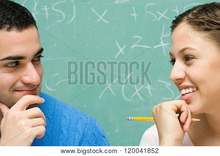 Two students flirting