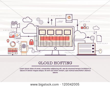 Cloud hosting process, cloud computing technology, web hosting, digital connections concepts web banner, hero image, website slider. Line art vector illustration.