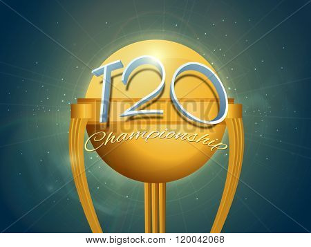 Stylish glossy 3D text T20 Championship on golden Trophy for Cricket Sports concept.