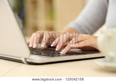 Writer Writing On A Laptop At Home