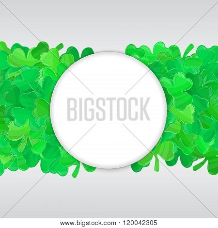 Patricks Day Green Clover Frame Cartoon White 1