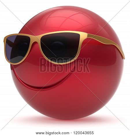 Smile face head ball cheerful sphere emoticon cartoon smiley happy decoration cute red golden sunglasses. Smiling funny joyful person laughing joy character toy avatar