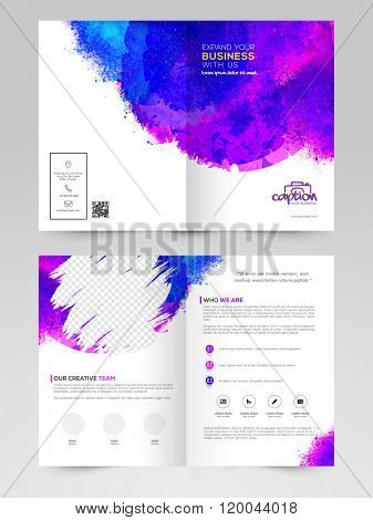 Abstract splash decorated, Two Page glossy Brochure, Template or Flyer design with space to add image for Business concept.