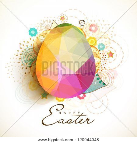 Creative colorful Origami Egg on floral design decorated background for Happy Easter celebration.