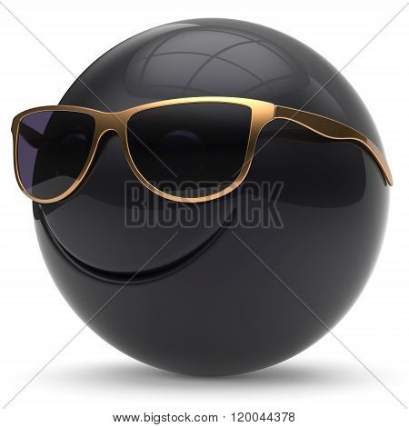Smile face head ball cheerful sphere emoticon cartoon smiley happy decoration cute black golden sunglasses. Smiling funny joyful person laughing joy character toy avatar