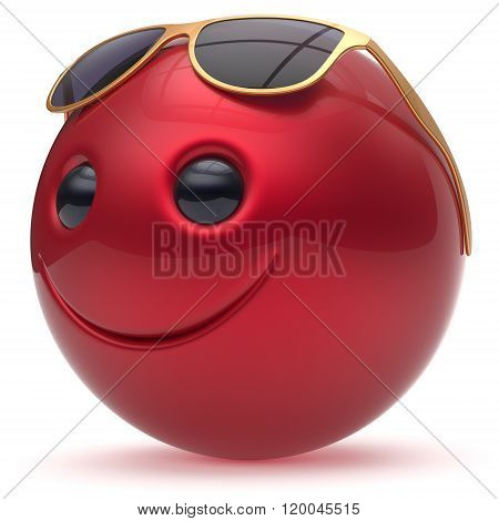 Smile face cheerful head ball sphere emoticon cartoon smiley happy decoration cute red golden sunglasses. Smiling funny joyful person character avatar