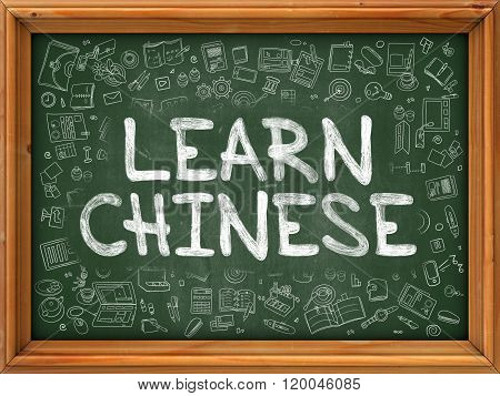 Learn Chinese Concept. Green Chalkboard with Doodle Icons.