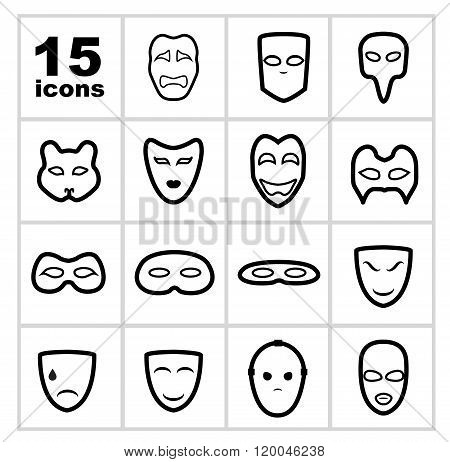 Masks outline icon set