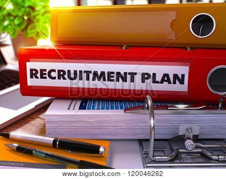 Red Ring Binder with Inscription Recruitment Plan.