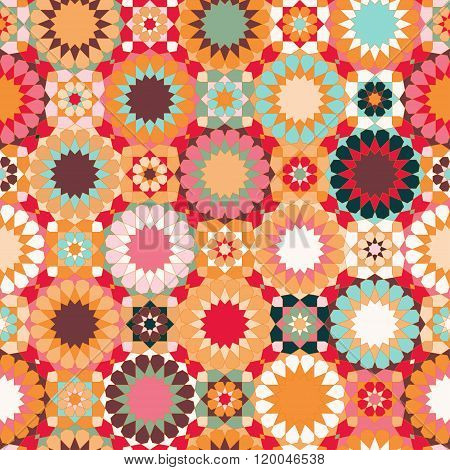 Seamless Patchwork Colorful Islamic Pattern