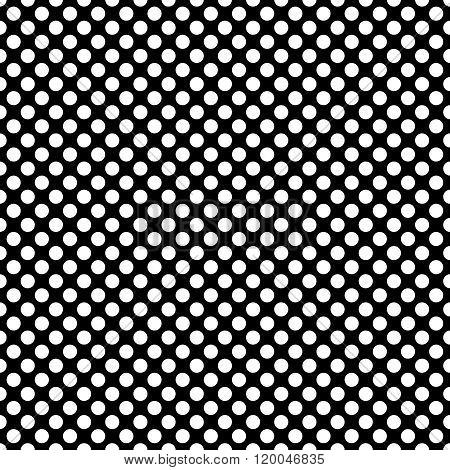 Tile vector pattern with white polka dots on black background