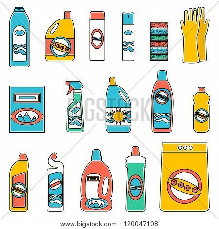Group bottles of chemicals for household on white background.
