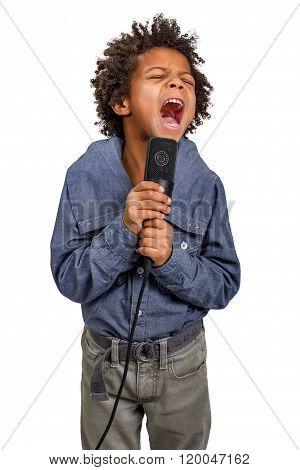 Boy sings.