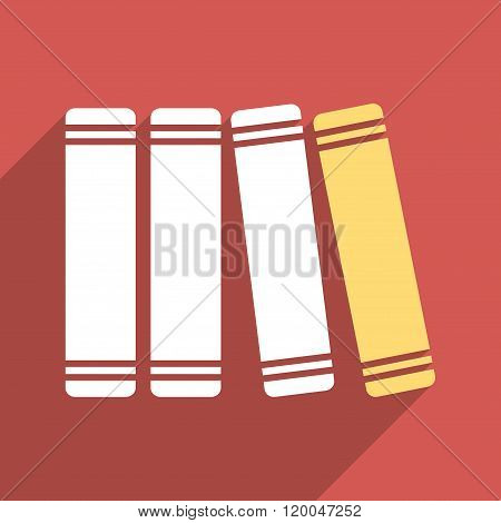 Library Books Flat Longshadow Square Icon