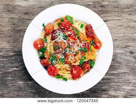 Sausage Pasta spaghetti with summer vegetables