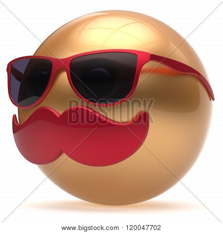 Cartoon mustache face emoticon ball happy joyful handsome person golden red sunglasses caricature icon. Cheerful eyeglasses laughing fun sphere positive smiley character avatar