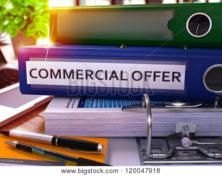 Commercial Offer on Blue Office Folder. Toned Image.