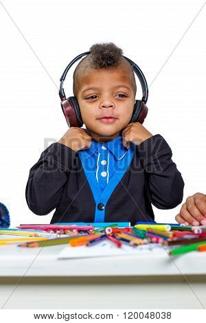 Child in headphones.