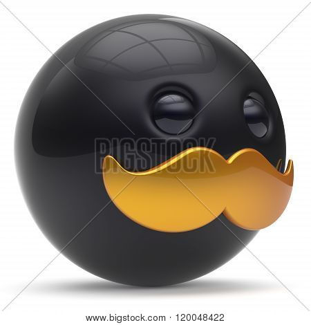 Cartoon mustache face cute emoticon ball happy joyful handsome person black golden caricature icon. Cheerful laughing fun sphere positive smiley character avatar