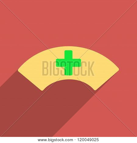 Medical Visor Flat Longshadow Square Icon