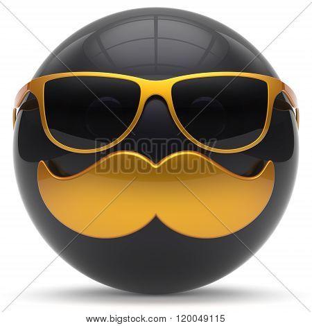 Mustache face cartoon emoticon ball happy joyful handsome person black golden sunglasses caricature icon. Cheerful eyeglasses fun sphere positive character