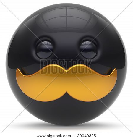 Mustache face cartoon cute emoticon ball happy joyful handsome person black golden caricature icon. Cheerful laughing fun sphere positive smiley character