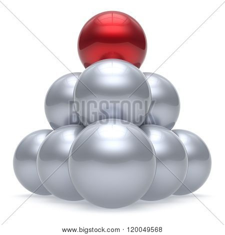 Leader sphere ball pyramid hierarchy corporation red top order leadership element teamwork group business concept shiny sparkling white chrome