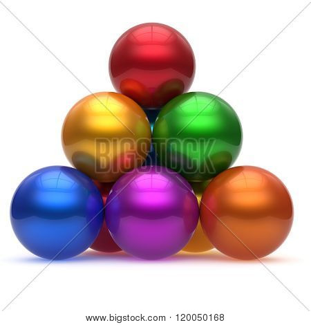 Pyramid hierarchy sphere ball corporation top order leadership different element teamwork group business concept multicolored shiny sparkling