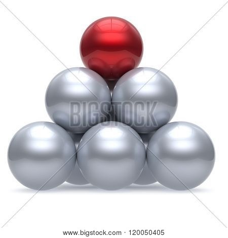 Pyramid leader sphere ball hierarchy corporation red top order leadership element teamwork group business concept shiny sparkling white chrome