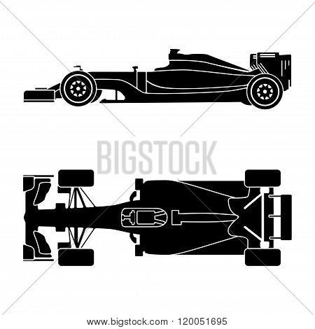 Silhouette of a racing car