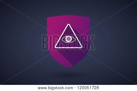 Long Shadow Shield Icon With  An All Seeing Eye