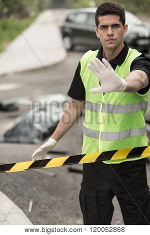Policeman Forbidding Entry