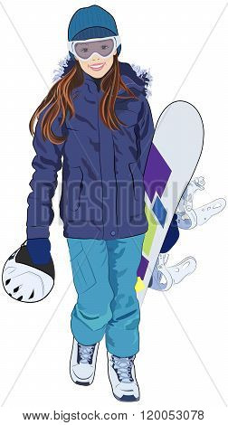 Young Girl with Snowboard